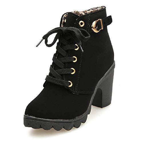 Botines De Altos Tacón Mujer,Piel con Plataforma Ante Forrados Cordones 8 Cm Zapatos Moda Otoño Invierno Comodos Negro 41