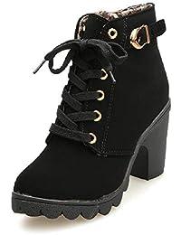 d288ec5ff87 JOYTO Femme Bottines a Talon Plateforme Velours Lacer Cuir Basse 8 CM Hiver  Automne Fashion Elegante Confortable Boots avec De…