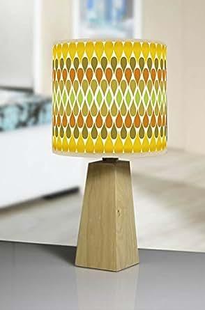 modern natural wood tripod table lamp handmade printed shade retro retro geometric 494 yellow. Black Bedroom Furniture Sets. Home Design Ideas