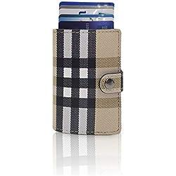 Cartera Tarjetero Pequeño Mujer Hombre Tarjetas Crédito Lauder Berry Billetera Pequeña Protección RFID Metálico 11 Tarjetas Porta Billetes escocés (Beige/Blanco)