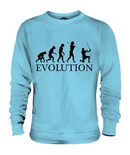 CandyMix Bogenschießen Bogenschütze Evolution Des Menschen Unisex Herren Damen Sweatshirt, Größe 2X-Large, Farbe Himmelblau