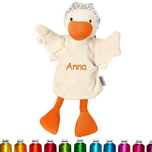 LALALO Sterntaler Handpuppe Gans Bestickt mit Namen, Kasperlepuppe, Kasperletheater Puppe personalisiert, Geschenk Kinder & Baby Geburtstag