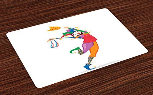 s Platzmatten, Mardi Gras unter dem Motto Jester Holding Maske und Halsketten Bunte Zeichentrickfigur, Tiscjdeco aus Farbfesten Stoff für das Esszimmer und Küch, Mehrfarbig ()