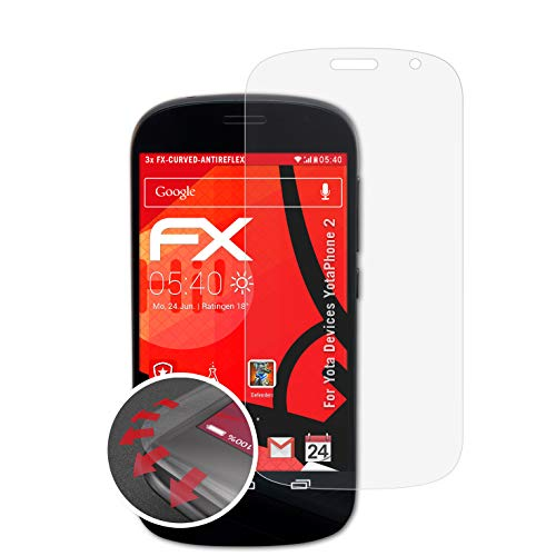 atFolix Schutzfolie passend für Yota Devices YotaPhone 2 Folie, entspiegelnde & Flexible FX Bildschirmschutzfolie (3X)