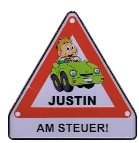 Albatros - Achtung-Schild Justin am Steuer