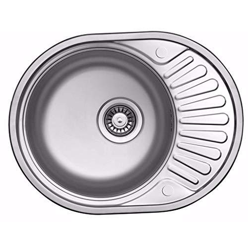 Poliertes rundes Spülbecken mit Abtropffläche aus Edelstahl, Mini-Einzelschlitz Small Family Küchenspülen 0606 -