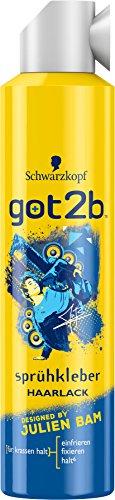 Schwarzkopf Got2b Sprühkleber Haarlack von Julien Bam, 2er Pack (2 x 300 ml)