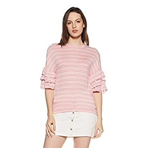 VERO MODA Women's Striped Loose Fit T-Shirt
