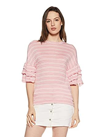 VERO MODA Women's Striped Loose Fit T-Shirt (10205349-2001438001_Strawberry Ice_XS)
