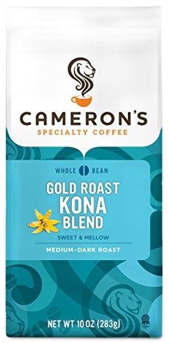 Cameron's Coffee Gold Roast Coffee, Kona Blend, Whole Bean, 10 Ounce