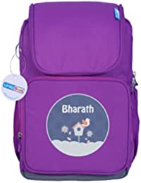 UniQBees Personalised School Bag With Name (Smart Kids Large School Backpack-Purple-Bird House)