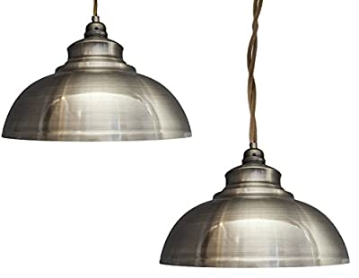 2 x Modern Vintage Antique Brass Pendant Light Shade Industrial Hanging Ceiling Light Ideal For Dining Room Bar Clubs & Restaurants from Energy Light Bulbs