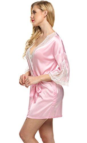 Ekouaer Frauen Sexy Satin Morgenmantel Damen Kurz Nachtwäsche Pyjama Bademantel Hohle Spitze V-Ausschnitt Kimono Schlafanzug Rosa
