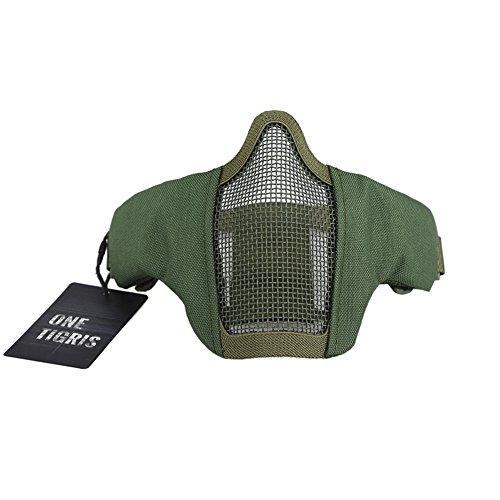 OneTigris Faltbare halbe Gesichtsschutz Maske Mesh Maske für Softair Paintball CS (Grün)