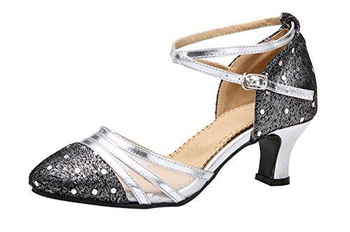Honeystore Damen's Criss Cross Riemen Metallschnalle Tanzschuhe Champagner-01 6 UK 1pSpb0D3w