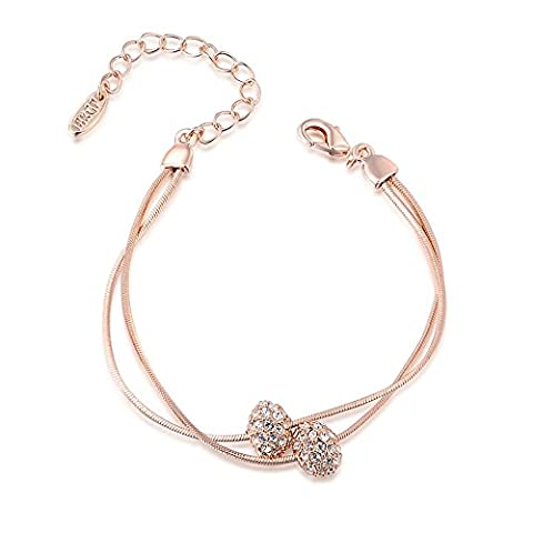 GEORGE SMITH Austrian Crystals Iron Beads Rose Gold Silver 2-Strand Rope Chain Bracelet for Women Girl (rose gold)