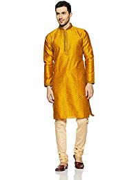 Manyavar Men's Yellow Full Sleeve Regular Fit Designer Kurta & Churidar Set