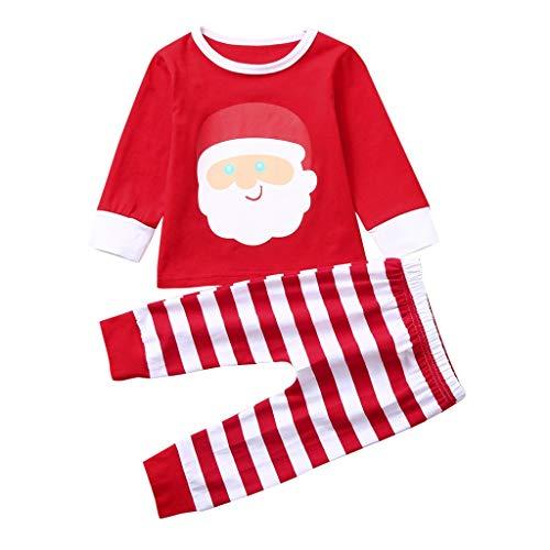Alwayswin Weihnachten Baby Jungen Mädchen Bekleidungssets Cartoon Langarm T-Shirt Hosen Outfits Set Striped Printed Tops Einfarbig Lange Hosen Schlafanzug Pyjama Babykleidung -