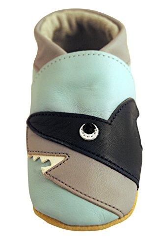 Chaussures artisanales Three Little Imps en cuir souple pour bambins - Requin plein d'entrain sur fond bleu pâle 6 - 12m (SKPB) bleu