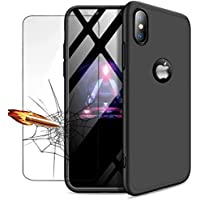 iPhone XS Max hülle, DYGG 360 Grad Schutz Schutzhülle Ultra dünn Soft PC Hartgummi handyhülle Case Cover + Displayschutzfolie - schwarz
