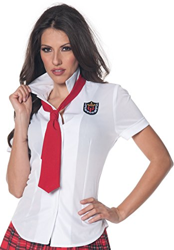 Girl Nerd Schule Kostüm - School Girl Women's Fitted Costume Shirt: Small
