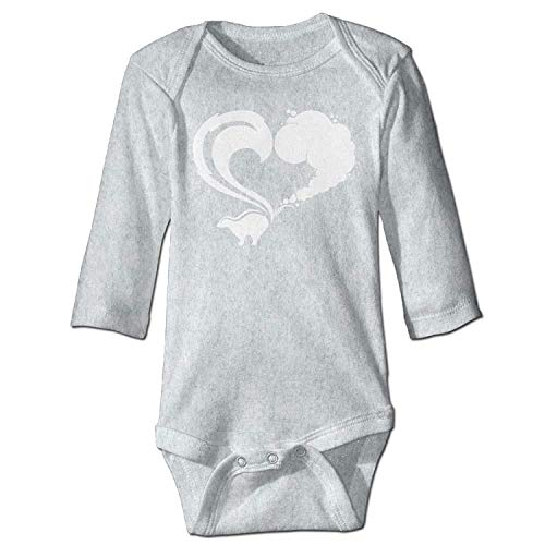 MSGDF Unisex Infant Bodysuits Skunk Logo Boys Babysuit Long Sleeve Jumpsuit Sunsuit Outfit Ash