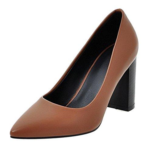TAOFFEN Femmes Escarpins Bloc Talons Hauts A Enfiler Pointu Chaussures Marron