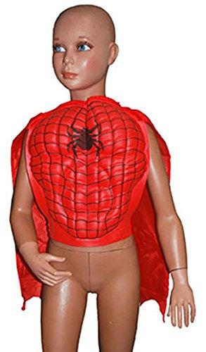 Halloweenia - Spiderman Brustpanzer Umhang Bauch Spinne Superhelden, 98-116, 3-6 Jahre, Rot
