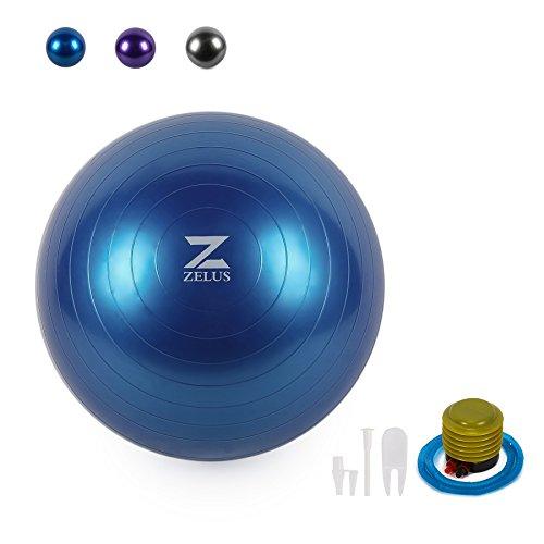 ZELUS 65cm Yoga Ball Gymnastikball Fitnessball Pilatesball Sitzball inkl Luftpumpe Rutschfest