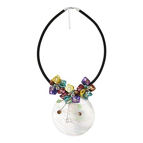 AeraVida Halskette Perlmutt Muschel Medaillon Blumen-Attention Satin Mehrfarbig