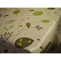 Leaves & Stems on Natural PVC Vinyl Oilcloth Tablecloth by Karina Home (200cm x 137cm)