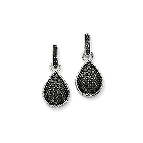 Black Baumeln Diamond Ohrringe (IceCarats Designer Schmuck 14K Gold Diamond Black Teardrop baumeln Ohrstecker)