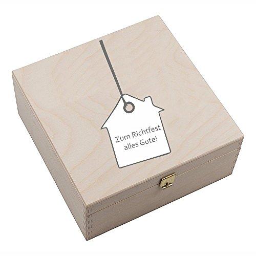 """Hufeisen-Box mit Motiv """"Zum Richtfest alles Gute"""" (mit Hausanhänger) Geschenkidee Hausbau Glücksgeschenk"""