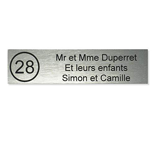 Placa Buzón número Decayeux 100x 25mm gris plata letras negras-3líneas