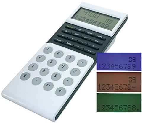 M-abacus 10387 anzeigender Design-Tischrechner 2zeil.+10st.+3farb. Display, Uhr, %, OFF