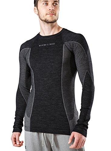 MERINO & MORE Sport Funktionsshirt Langarm Herren aus hochwertiger Merinowolle in leistungsfähigem 2-Schichten-System. Schweißableitend, wärmeregulierend, geruchsneutralisierend (XL)