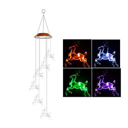 HULYZLB LED Solar Wind Glockenspiel, wasserdichtes Licht mit sechs Vögeln LED für Gartendekoration im Freien, angetriebene LED-Hängelampe -