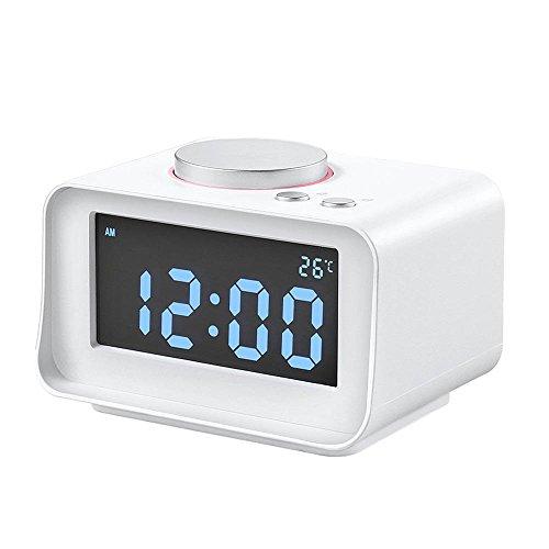 Mettime Doppelter Wecker UKW-Radio USB-Lade-Digitaluhr Eingebauter Temperatursensor und Hyun-Klingelton Mit AUX-Funktion für Home-Bed-Office-Hotelzimmer , Weiß (Dual Radio Wecker Usb)