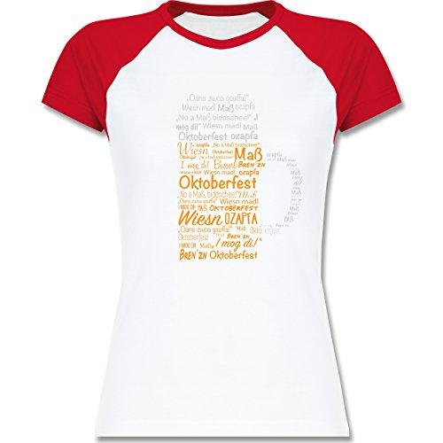 Shirtracer Oktoberfest Damen - Oktoberfest Maß - Zweifarbiges Baseballshirt/Raglan T-Shirt für Damen Weiß/Rot