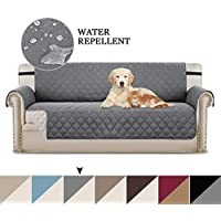 "BellaHills Water Repellent Sofa Cover Reversible Couch Slipcover Furniture Protector, Sofa Covers for 3 Cushion Couch with 2"" Wide Elastic Strap, Machine Washable for Dogs, Pets (Sofa: Grey/Beige)"