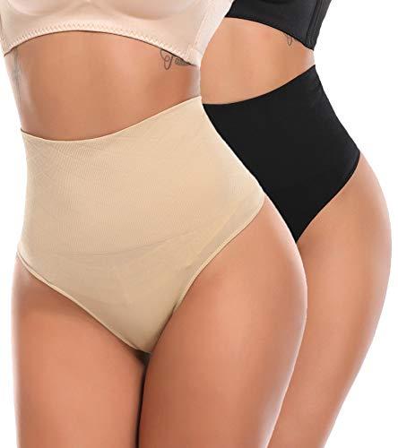 SLIMBELLE Damen Bauch Weg Mieder String Tanga Slip Figurenformend Miederpants Shapewear Unterwäsche, Schwarz+ Beige, Gr.- XL(DE 40)