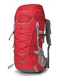 Mardingtop Mochila de Senderismo 55L Para Deporte Aire Libre del Viaje de Acampa con Cubierta de Lluvia-5818III Rojo