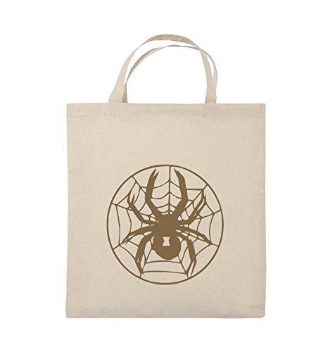 Buste Comiche - Spider - Rete - Borsa In Juta - Manici Corti - 38x42cm - Colore: Nero / Argento Naturale / Marrone Chiaro
