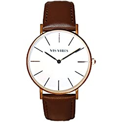 Vis Vires Mens Rose Gold Chesterfield Timepiece 40mm