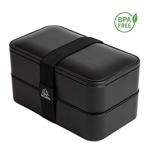 Umami lunch box nero mat | contenitore porta pranzo ermetico 2 scomparti e 3 coperchi con posate e porta condimento| per microonde e lavastoviglie | contenitori alimentari bento box portatile no bpa