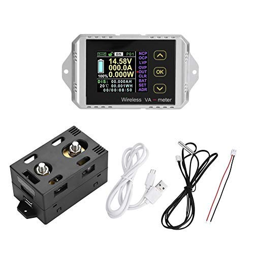 Akozon Multimeter DC Voltmeter, Wireless Farbe LCD Bildschirm DC Spannung Amperemeter Leistungsmesser Watt Tester, Elektrische Digital Spannung Tester(VAT-1300, 0-300A 0-100V)