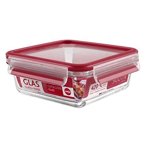 Emsa 513919 Frischhaltedose mit Deckel, Glas, Quadratisch, Volumen 0,9 Liter, Transparent/Rot, Clip & Close