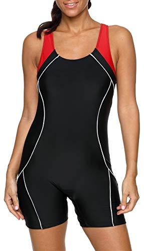 BeautyIn Damen Bademode Schwimmanzug mit Bein Bauchweg Figurformenden Rückaussicht Bandeau 2XL