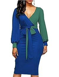 YOGLY Robe de Soirée Femme Manches Longues Ballon Couleur Epissure Robe  Femme Chic Grande Taille avec 2582069ef30