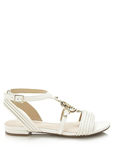 Guess Off-White Leather Sandals by (36 - White) (Guess Flats Schuhe)